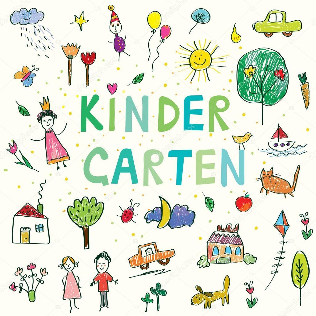 Kindergarten Banner With Funny Kids Drawing Stock Vector