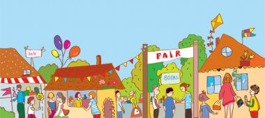 Fair holiday at the town illustration with many people