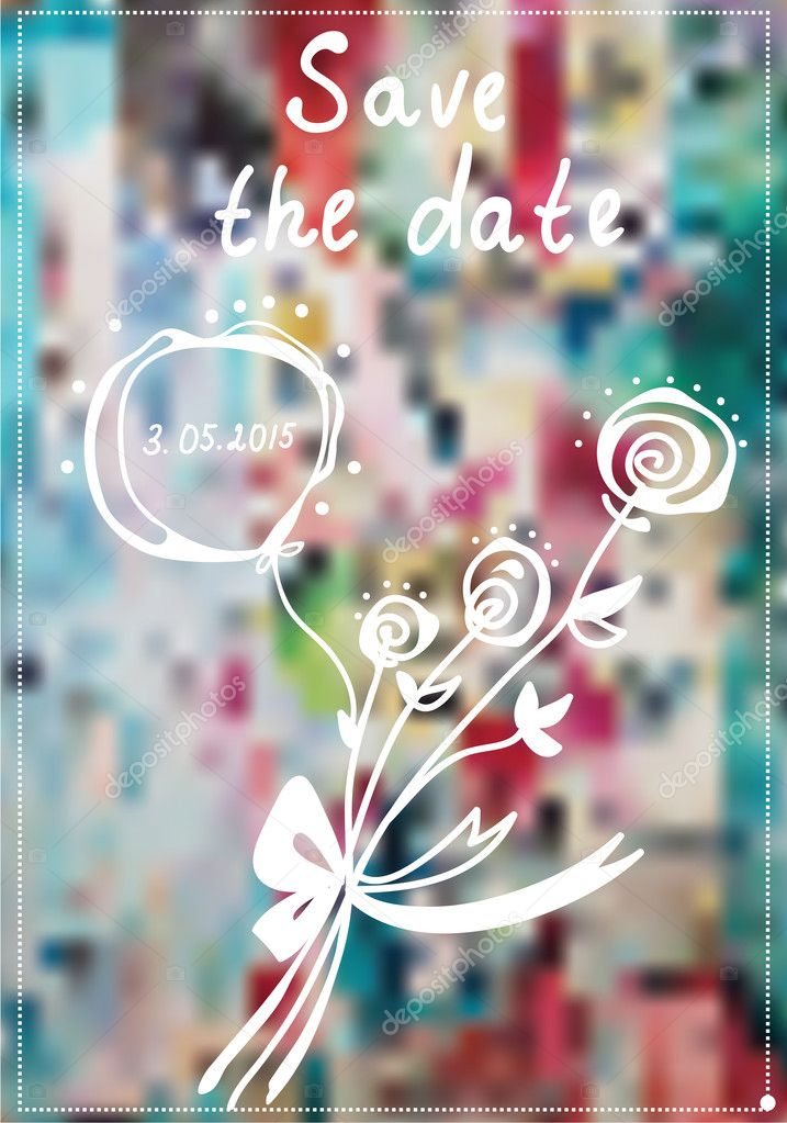 Save the date invitation with rose flowers