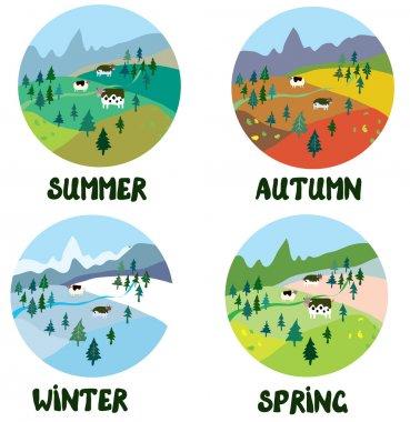 Farm rural landscape in four seasons