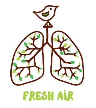 Lungs and nature - illustration for the fresh air