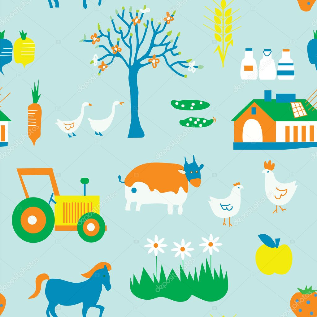 Agriculture seamless pattern with trees, animals