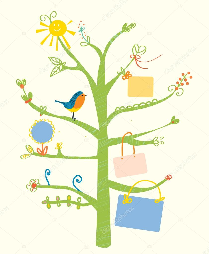 Cute tree card with text frames for kids
