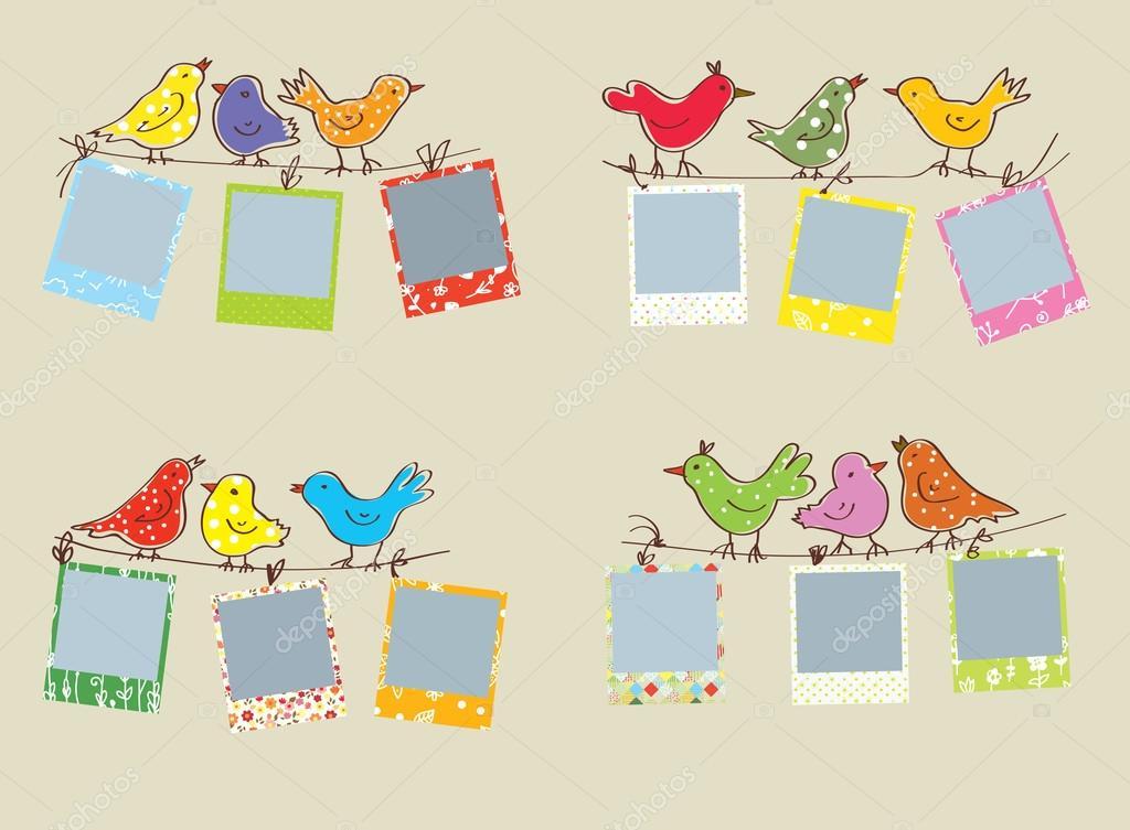 Marcos de fotos divertidos con las aves y los patrones — Vector de ...