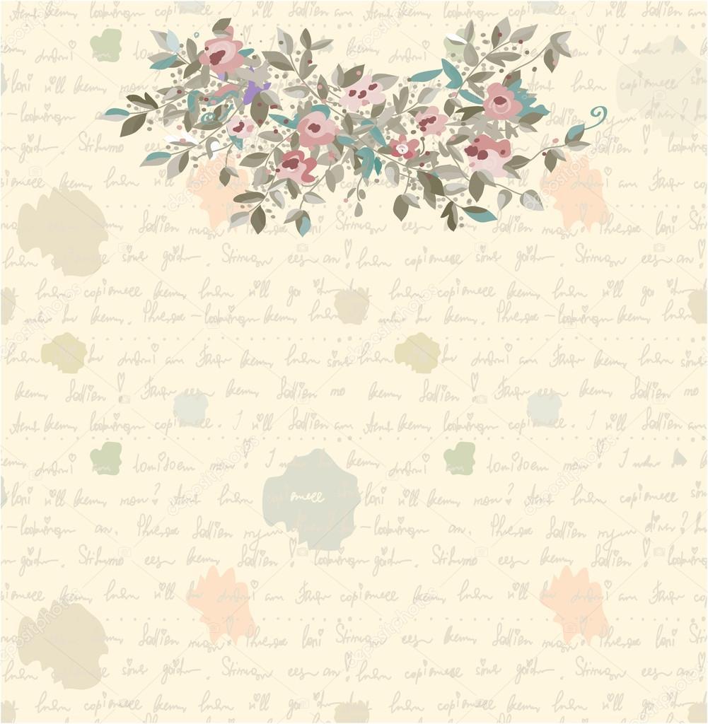 Complètement et trop extrême Fond de lettre rétro avec fleurs et texte — Image vectorielle &BD_98