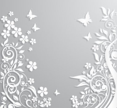 Abstract vector background with paper flowers and butterflies. stock vector