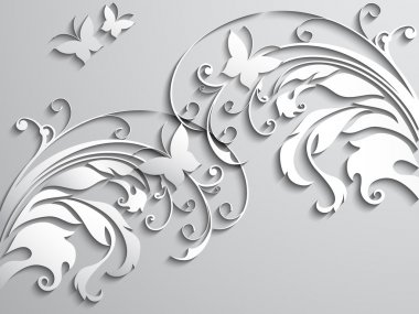 Abstract background with paper flowers and butterflies. Vector illustration. stock vector