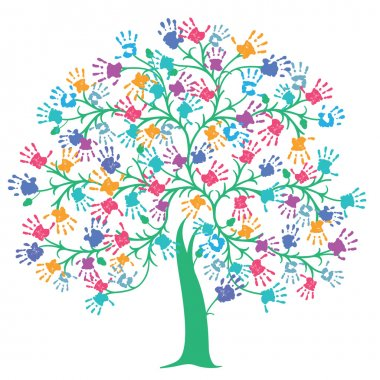 Tree with colorful handprint clip art vector
