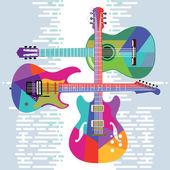 Fotografie akustická a elektrická kytara