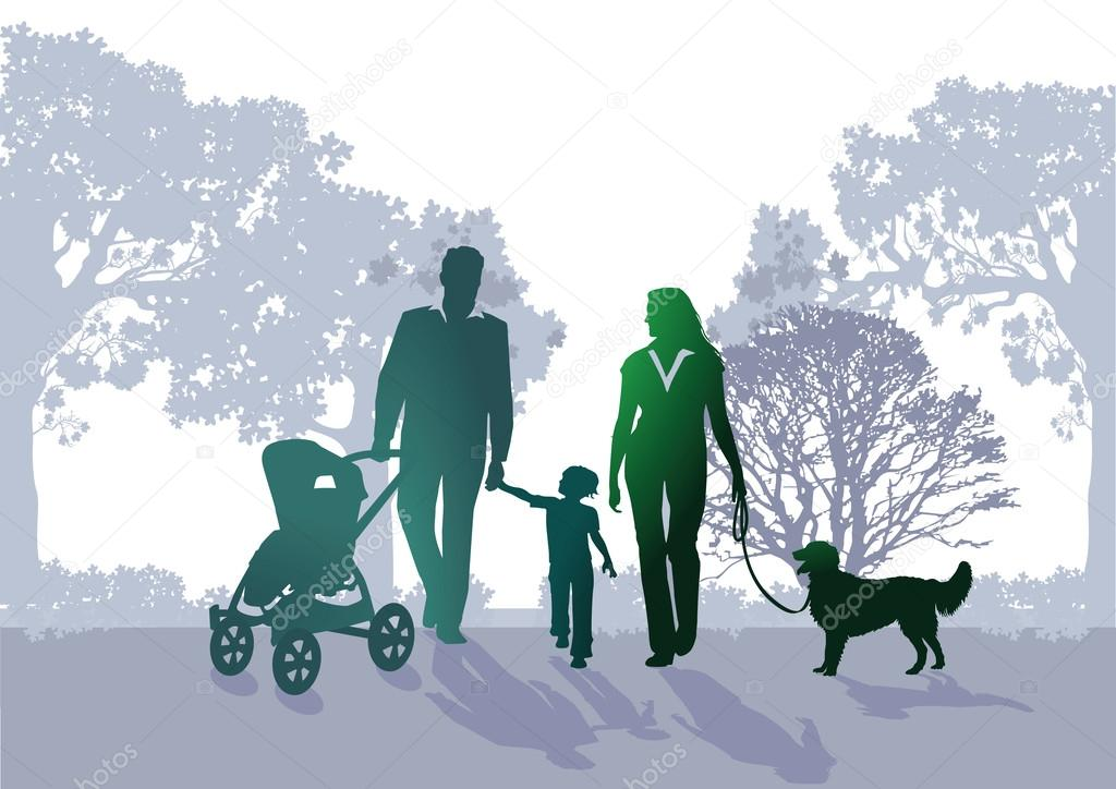 Familen walk in the park