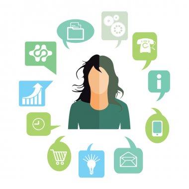 Businesswoman with work tasks, symbols