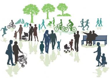 Generations in nature, parents, children stock vector