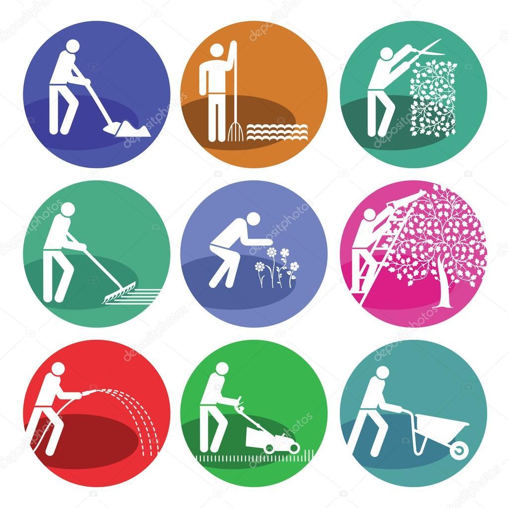 Jardiner a jardinero mantenimiento de jardines vector for Logos de jardines