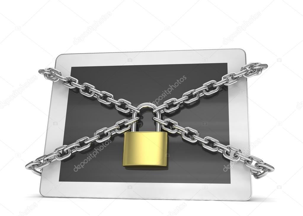 Tablet Pc z łańcuchów i blokady — Zdjęcie stockowe © merznatalia