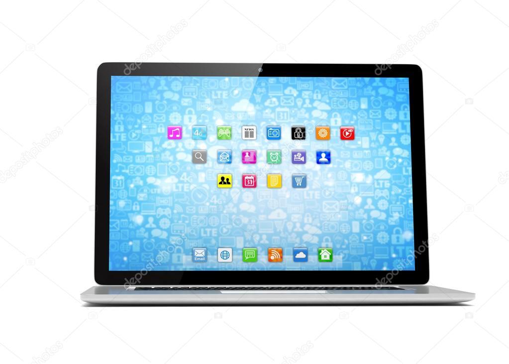 Laptop With Blue Wallpaper Stock Photo C Merznatalia 102801522