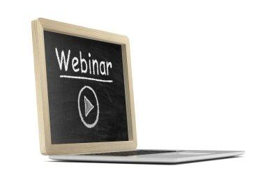Laptop with chalkboard, webinar