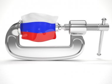 Russian flag in clamp
