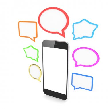 Smartphone with colorful speech bubbles isolated on white background stock vector