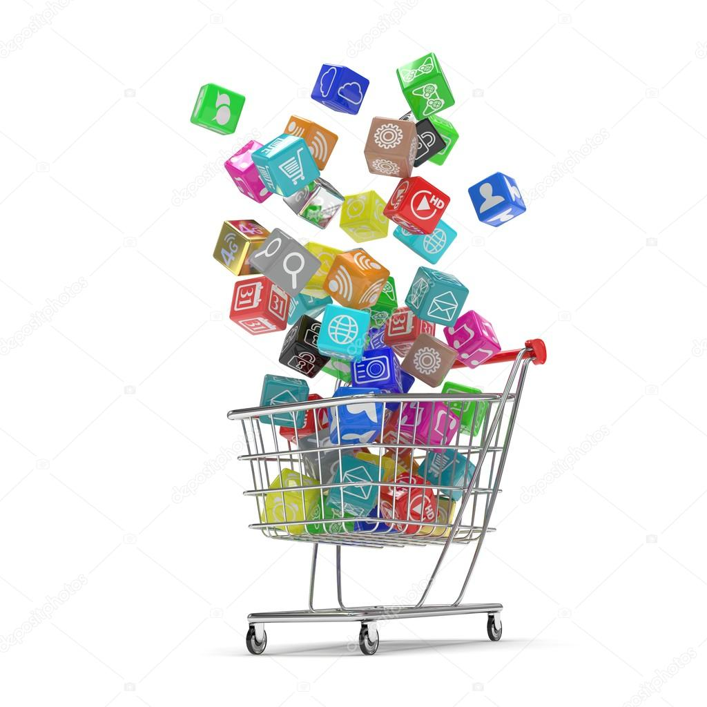 Shopping cart with software icons — Stock Photo