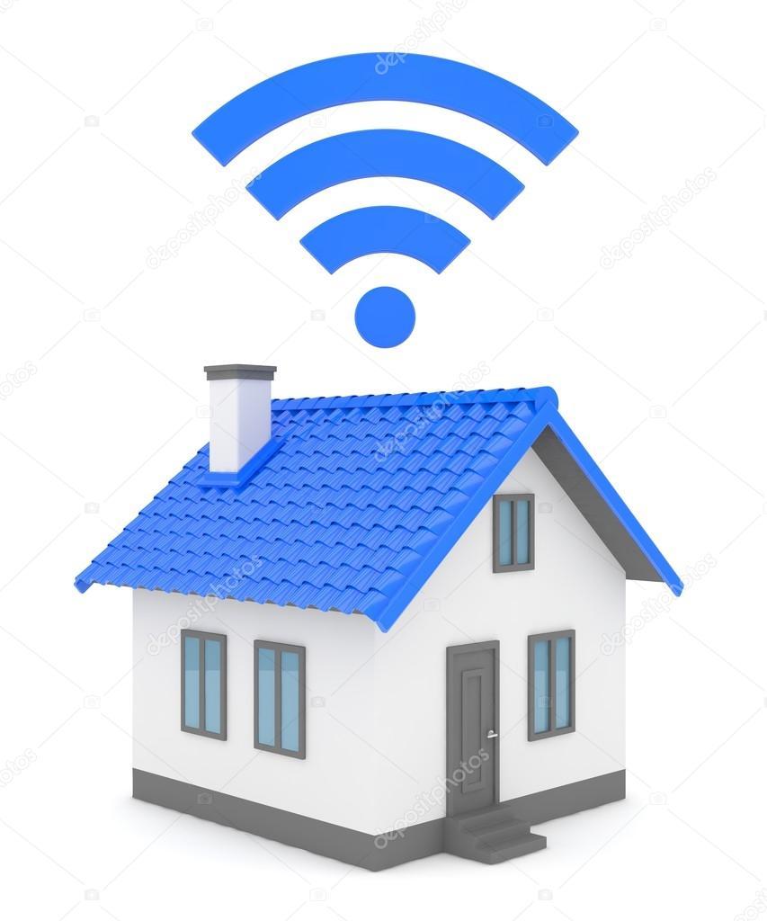 Awesome 3D Haus Wifi Auf Weißem Hintergrund, 3D Rendering U2014 Foto Von Merznatalia