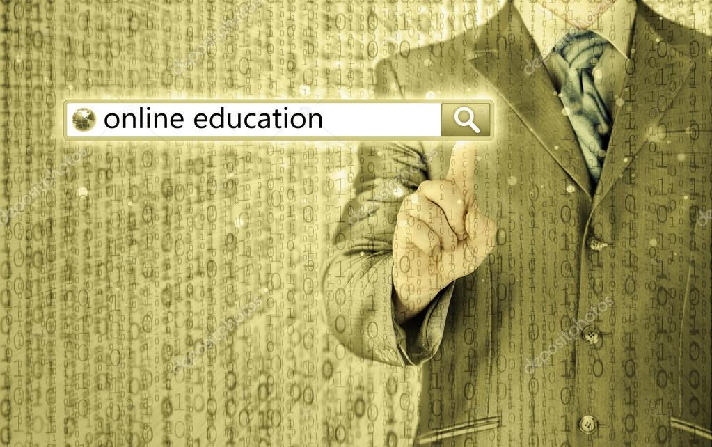 Online education written in search bar on virtual screen. stock vector