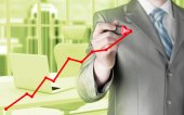 obchodní muž kresba rostoucí graf