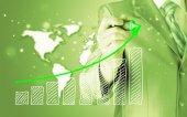 Rajz egy növekvő grafikont üzletember