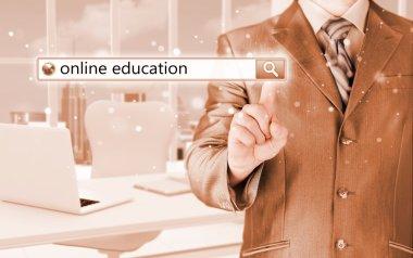 Online education written in search bar on virtual screen stock vector