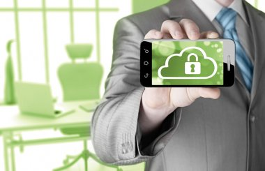 Cloud security concept with smartphone