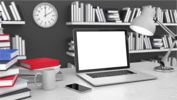 Pracovní prostor s notebookem a knihy