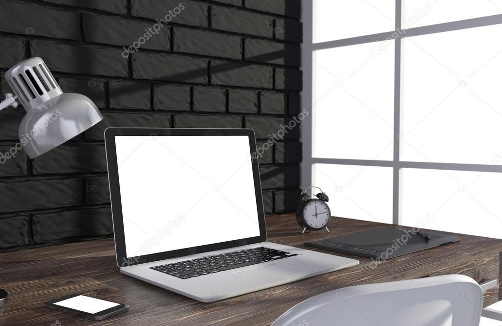 3D illustration laptopand work stuff on table near brick wall and window, Workspace
