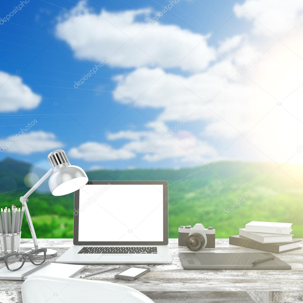 Workspace on nature outdoor