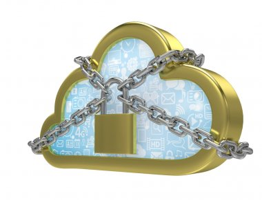 Cloud computing security concept on white stock vector