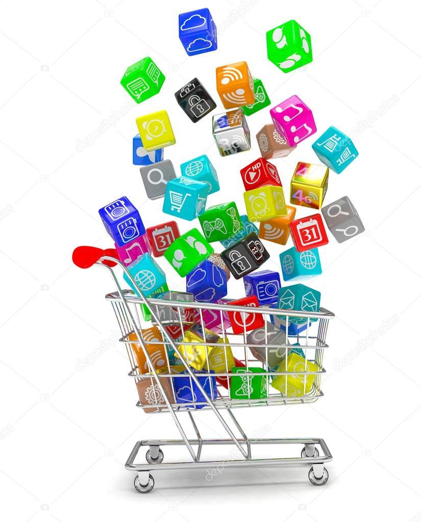 Shopping cart with software icons — Stock Photo © merznatalia #88117036