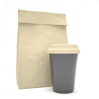 Coffee to go and lunch bag