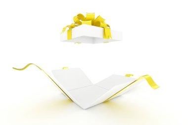 Open gift box on white background stock vector