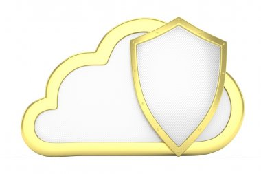 Cloud and shield, cloud security concept isolated on white background stock vector