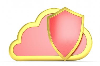 Cloud security concept with cloud and shield stock vector