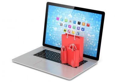 laptop and shopping bags