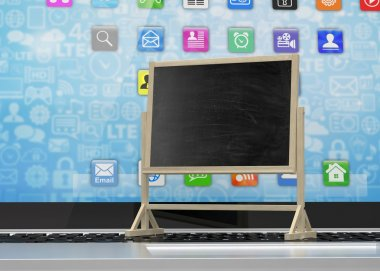 Laptop with chalkboard, online education