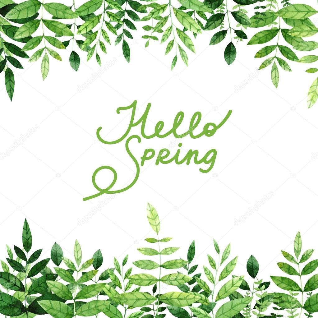 Frame border with watercolor green leaves on the branches. — Stock ...