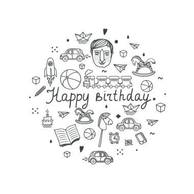 Happy Birthday greeting card - vector illustration.