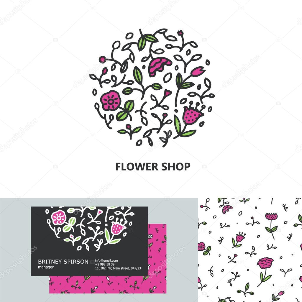 Premium business identity set with logo business card design and premium business identity set with logo business card design and seamless pattern for flower shop organic cosmetics bridal boutique beauty salon reheart Gallery