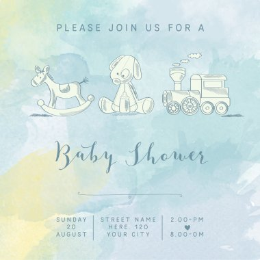 watercolor baby boy shower card with retro toys