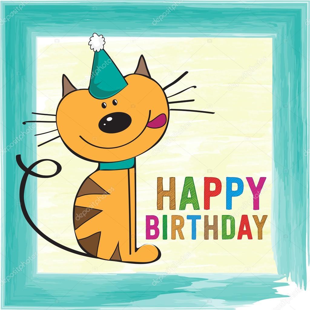 legrační obrázky k narozeninám Dětská přání k narozeninám s legrační malá kočka — Stock Vektor  legrační obrázky k narozeninám