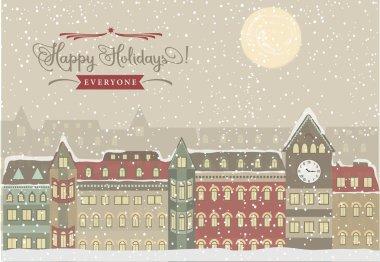 Winter Cityscape, Christmas Illustration
