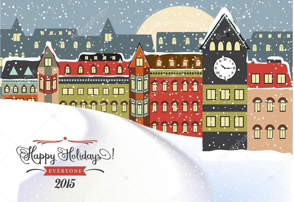 冬の街並みクリスマス イラスト ストックベクター Claudiabalasoiu