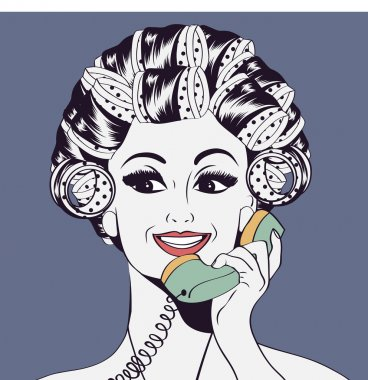 Woman with curlers in their hair talking at phone