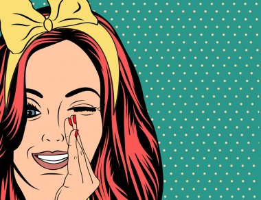 Pop Art illustration of girl with red hair
