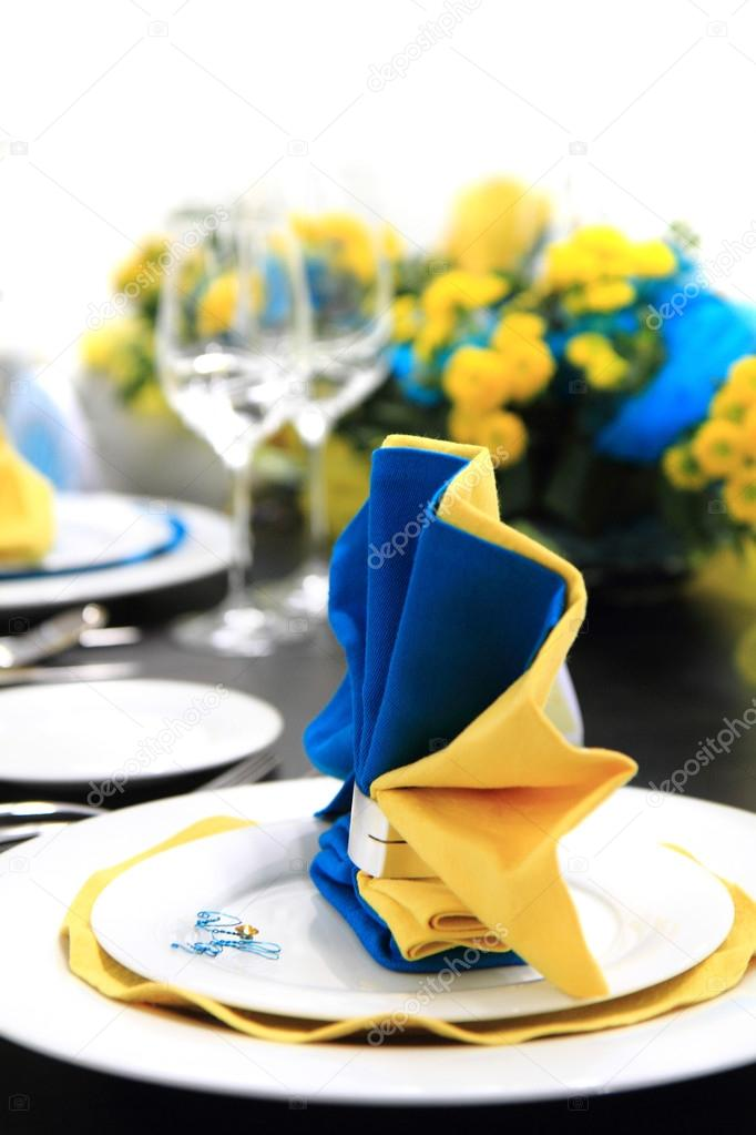Blue And Yellow Wedding Table Decoration Stock Photo Jonnysek